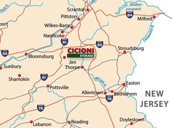 Map showing Cicioni RV Storage in Hazleton, PA